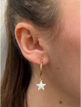 BO créoles Acier - Avec étoile en émail