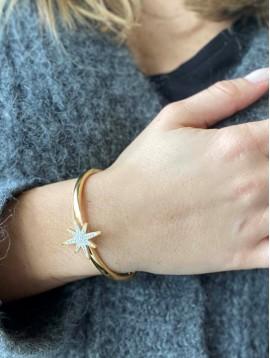 Bracelet Acier - Jonc avec étoile tout strass