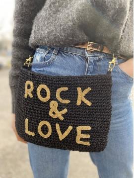 """Sac porté travers toile de jute""""Rock & Love """""""