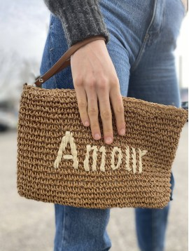 "Sac porté travers paille brillante ""Amour"""