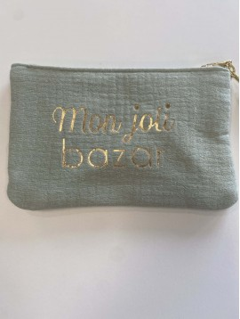 "Pochette ""mon joli bazar"" avec pompon"