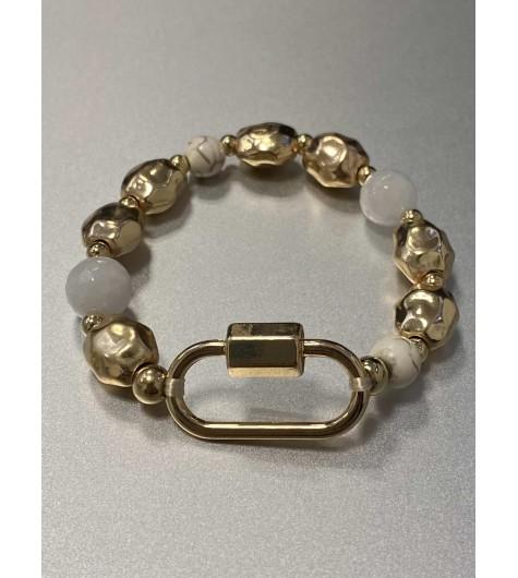 Bracelet éla - Rang perles effet marbre et dorées avec maillon forçat