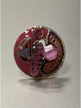 Bague réglable - Pastille ronde avec ovale nacré, pierres et perles