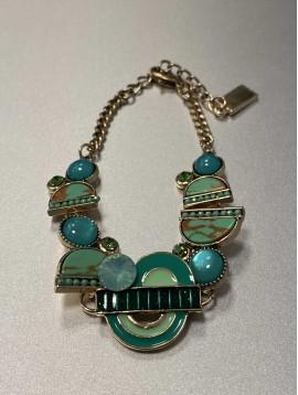 Bracelet - Pastilles géométriques effet nacre et perles