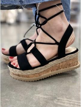 Sandales compensées peau de pêche lien cheville