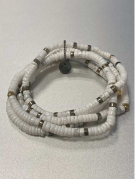 Bracelet Acier - Rangs pierres naturelles, pastilles dorée et perles
