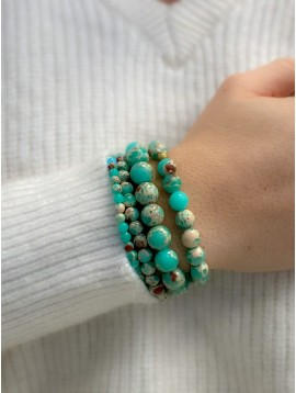Bracelet Acier - Multirangs en pierres naturelles