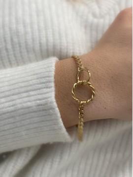 Bracelet Acier - Anneaux entrelacés sur chaine en maille gourmette