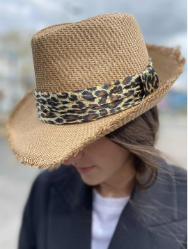 Chapeau borsalino ruban leopard