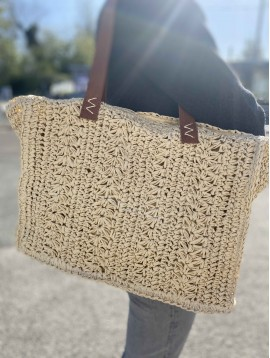 Sac shopping en paille papier
