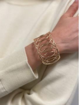 Bracelet Plaqué Or - Jonc large ouvert avec anneaux entremélés