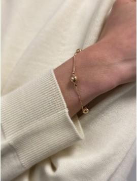 Bracelet Plaqué Or - Perles sur chaine torsadée