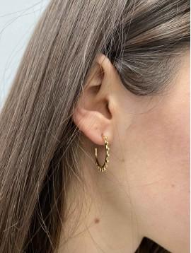 BO Percées - Anneaux avec perles dorées pendantes