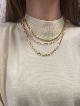 Collier Acier - Multirangs en chaines mailles forçat et gourmette
