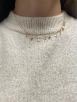 Collier Plaqué Or - Pastilles plates pendantes sur chaine fine