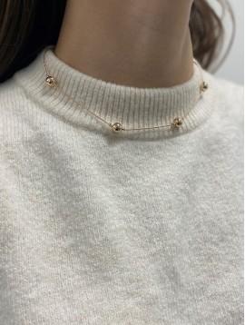 Collier Plaqué Or - Perles sur chaine torsadée