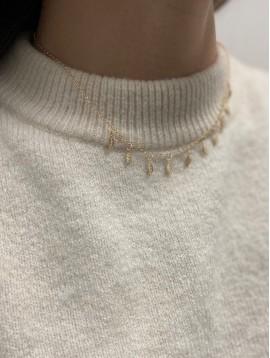 Collier Plaqué Or - Plumes pendantes sur chaine fine