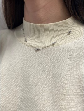 Collier Argent - Perles sur chaine torsadée
