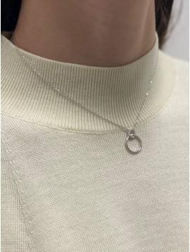 Collier Argent - Anneaux entrelacées avec strass sur chaine fine
