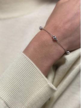 Bracelets Argent - Perles sur chaine torsadée
