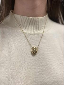 Collier Acier - Pendentif ovale bombé doré sur chaine fine
