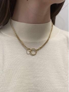 Collier Acier - Pendentif anneaux entrelacés sur maille gourmette