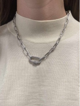 Collier Acier - Pendentif mousqueton stass sur chaine maille forçat
