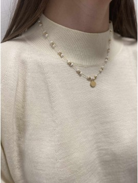 Collier Acier - Pierres naturelles et perles dorées sur chaine fine