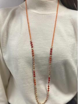 Collier Long - Rang de perles effet mat et dorées
