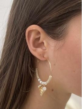 BO créoles - Anneaux avec perles et coquillages pendants