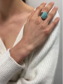 Bague Acier réglable - Chevalière avec pierre naturelle ovale