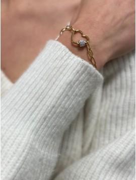 Bracelet Acier - Pendentif coeur avec pastille strass sur chaine