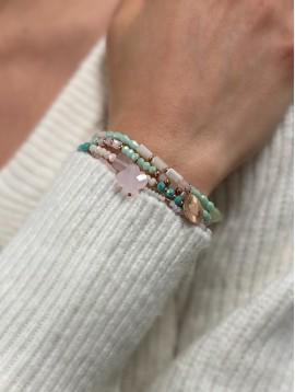 Bracelet Acier - Multi-rangs avec perles à facettes et pompons