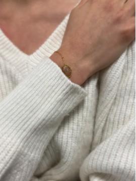 Bracelet Acier - Ovale pierre naturelle sur chaîne fine et boules