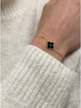 Bracelet Acier - Trèfle centre étoile sur chaine fine avec pastilles