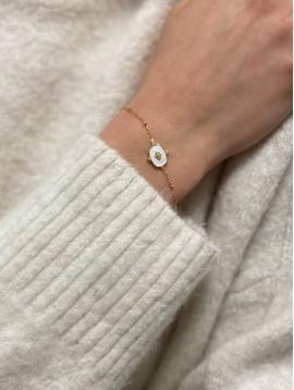 Bracelet Acier - Pastille ornée avec centre losange sur chaine fine