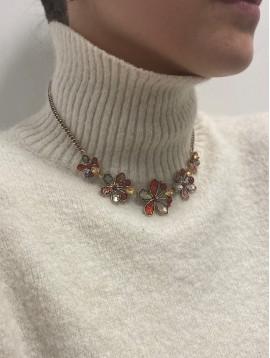 Collier - Rivière de fleurs pailletées et perles sur chaine