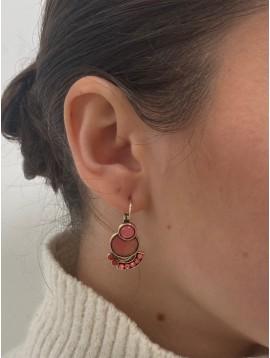 BO dormeuses - Pastilles rondes et arcs avec mini perles pendantes