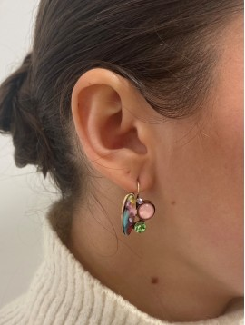 BO dormeuses - Pastilles nacrées ovales, perles et peirres rondes