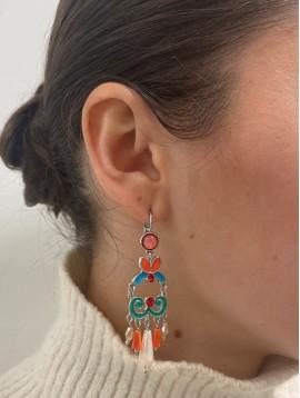 BO dormeuses - Perles rondes avec arcs nacrés et pierres pendantes
