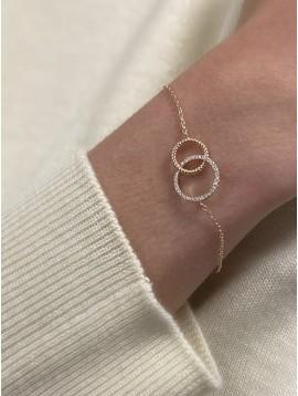 Bracelet Plaqué Or - Anneaux entrelacés avec strass sur chaine