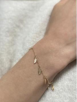Bracelet Plaqué Or - Plumes pendantes sur chaine fine