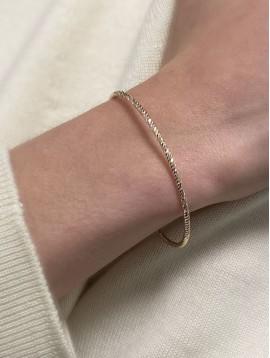Bracelet Plaqué Or - Jonc ouvert à facettes torsadées