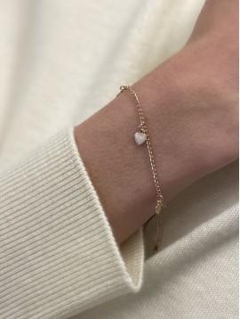 Bracelet Plaqué Or - Pendentifs coeurs sur chaine fine