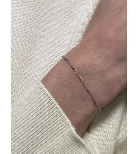 Bracelets Argent - Baguettes torsadées sur chaine fine