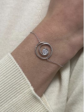 Bracelets Argent - Pendentif torsade centre strass sur chaine fine