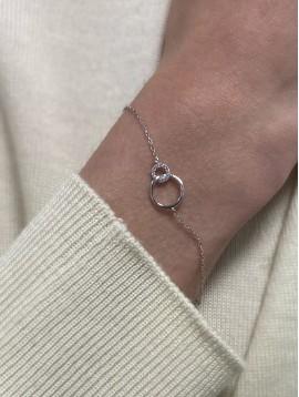 Bracelets Argent - Anneaux entrelacées avec strass sur chaine fine