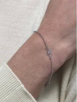 Bracelets Argent - Pastilles lotus sur chaine fine