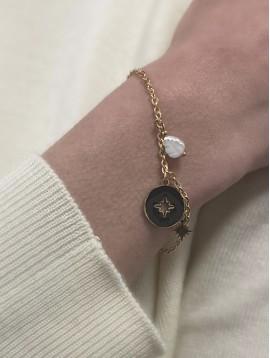 Bracelet Acier - Pastille colorée centre étoile et pierres sur chaine