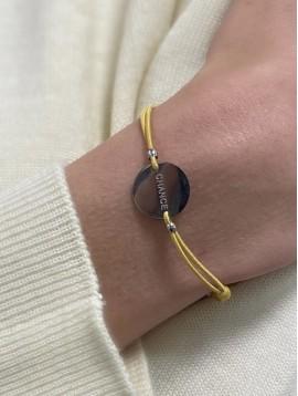 """Bracelet Acier - Pastille """"Chance"""" sur cordon coloré"""